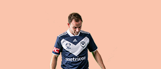 Melbourne Victory player on an orange background
