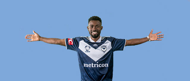 Melbourne Victory player on a blue background